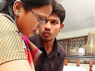 Boy eagerly waiting to touch aunty boobs full..
