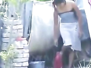 Indian hot village girl bathing outside, - 10 min