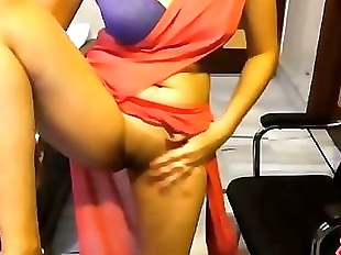Indian Punjabi College Girl In Sari Exposing..